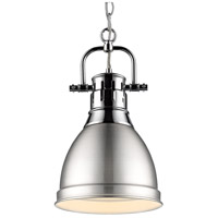 Golden Lighting 3602-S-CH-PW Duncan CH 1 Light 9 inch Chrome Mini Pendant Ceiling Light