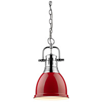 Golden Lighting Duncan 1 Light Mini Pendant in Chrome 3602-S-CH-RD