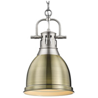 Golden Lighting 3602-S PW-AB Duncan 1 Light 9 inch Pewter Mini Pendant Ceiling Light in Aged Brass