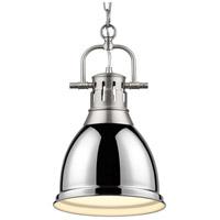 Golden Lighting 3602-S PW-CH Duncan 1 Light 9 inch Pewter Mini Pendant Ceiling Light in Chrome