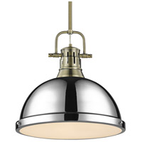 Golden Lighting 3604-L-AB-CH Duncan AB 1 Light 14 inch Aged Brass Pendant Ceiling Light