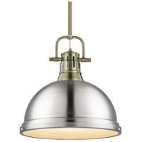 Golden Lighting 3604-L-AB-PW Duncan AB 1 Light 14 inch Aged Brass Pendant Ceiling Light