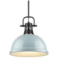 Golden Lighting 3604-L-BLK-SF Duncan 1 Light 14 inch Black Pendant Ceiling Light