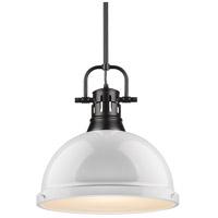 Golden Lighting 3604-L-BLK-WH Duncan 1 Light 14 inch Black Pendant Ceiling Light