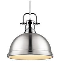 Golden Lighting 3604-L CH-PW Duncan 1 Light 14 inch Chrome Pendant Ceiling Light in Pewter
