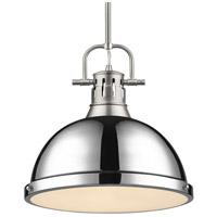 Golden Lighting 3604-L PW-CH Duncan 1 Light 14 inch Pewter Pendant Ceiling Light in Chrome