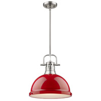 Duncan 1 Light 14 inch Pewter Pendant Ceiling Light in Red