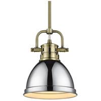 Golden Lighting 3604-M1L-AB-CH Duncan AB 1 Light 7 inch Aged Brass Mini Pendant Ceiling Light