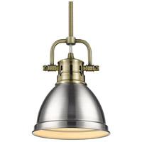 Golden Lighting 3604-M1L-AB-PW Duncan AB 1 Light 7 inch Aged Brass Mini Pendant Ceiling Light