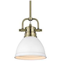 Golden Lighting 3604-M1L-AB-WHT Duncan 1 Light 7 inch Aged Brass Mini Pendant Ceiling Light in Matte White