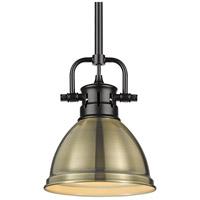Golden Lighting 3604-M1L-BLK-AB Duncan BLK 1 Light 7 inch Matte Black Mini Pendant Ceiling Light in Aged Brass