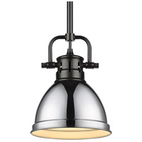 Golden Lighting 3604-M1L-BLK-CH Duncan BLK 1 Light 7 inch Matte Black Mini Pendant Ceiling Light