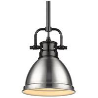 Golden Lighting 3604-M1L-BLK-PW Duncan BLK 1 Light 7 inch Matte Black Mini Pendant Ceiling Light in Pewter