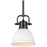 Golden Lighting 3604-M1L-BLK-WHT Duncan BLK 1 Light 7 inch Matte Black Mini Pendant Ceiling Light