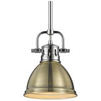 Golden Lighting 3604-M1L-CH-AB Duncan CH 1 Light 7 inch Chrome Mini Pendant Ceiling Light