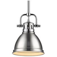 Golden Lighting 3604-M1L CH-PW Duncan 1 Light 7 inch Chrome Mini Pendant Ceiling Light in Pewter