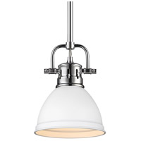 Golden Lighting 3604-M1L-CH-WHT Duncan 1 Light 7 inch Chrome Mini Pendant Ceiling Light in Matte White