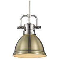 Golden Lighting 3604-M1L-PW-AB Duncan PW 1 Light 7 inch Pewter Mini Pendant Ceiling Light