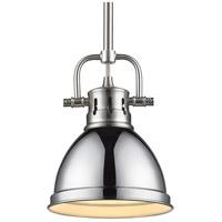 Golden Lighting 3604-M1L PW-CH Duncan 1 Light 7 inch Pewter Mini Pendant Ceiling Light in Chrome