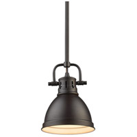 Golden Lighting 3604-M1L-RBZ-RBZ Duncan 1 Light 7 inch Rubbed Bronze Mini Pendant Ceiling Light