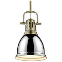 Golden Lighting 3604-S-AB-CH Duncan AB 1 Light 9 inch Aged Brass Mini Pendant Ceiling Light