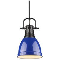 Golden Lighting 3604-S-BLK-BE Duncan 1 Light 9 inch Black Mini Pendant Ceiling Light