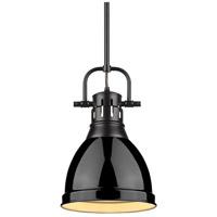 Golden Lighting 3604-S-BLK-BK Duncan 1 Light 9 inch Black Mini Pendant Ceiling Light