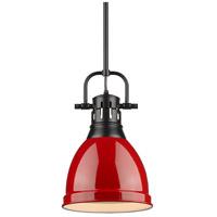 Golden Lighting 3604-S-BLK-RD Duncan 1 Light 9 inch Black Mini Pendant Ceiling Light