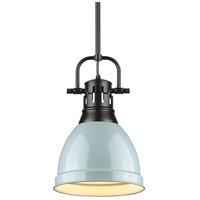 Golden Lighting 3604-S-BLK-SF Duncan 1 Light 9 inch Black Mini Pendant Ceiling Light