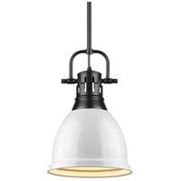 Golden Lighting 3604-S-BLK-WH Duncan 1 Light 9 inch Black Mini Pendant Ceiling Light