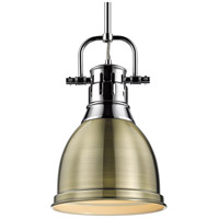 Golden Lighting 3604-S CH-AB Duncan 1 Light 9 inch Chrome Mini Pendant Ceiling Light in Aged Brass