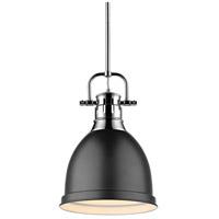 Golden Lighting 3604-S-CH-BLK Duncan 1 Light 9 inch Chrome Mini Pendant Ceiling Light