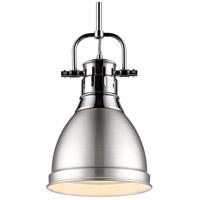 Golden Lighting 3604-S-CH-PW Duncan CH 1 Light 9 inch Chrome Mini Pendant Ceiling Light