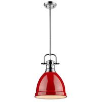 Golden Lighting Duncan 1 Light Mini Pendant in Chrome 3604-S-CH-RD