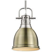 Golden Lighting 3604-S PW-AB Duncan 1 Light 9 inch Pewter Mini Pendant Ceiling Light in Aged Brass