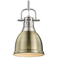 Golden Lighting 3604-S PW-AB Duncan 1 Light 9 inch Pewter Mini Pendant Ceiling Light in Aged Brass