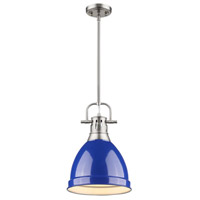 Golden Lighting 3604-S-PW-BE Duncan 1 Light 9 inch Pewter Mini Pendant Ceiling Light in Blue