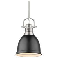 Golden Lighting 3604-S PW-BLK Duncan 1 Light 9 inch Pewter Mini Pendant Ceiling Light in Matte Black