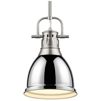 Golden Lighting 3604-S-PW-CH Duncan PW 1 Light 9 inch Pewter Mini Pendant Ceiling Light