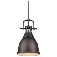 Golden Lighting 3604-S-RBZ-RBZ Duncan 1 Light 9 inch Rubbed Bronze Mini Pendant Ceiling Light