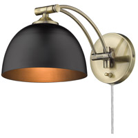 Golden Lighting 3688-A1W AB-BLK Rey 10 inch 100.00 watt Aged Brass Adjustable Wall Sconce Wall Light