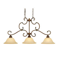Golden Lighting Rockefeller 3 Light Island Light in Champagne Bronze with Tea Stone Glass 3711-10-CB