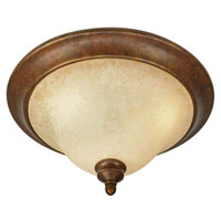 Golden Lighting Rockefeller 3 Light Flush Mount in Champagne Bronze with Tea Stone Glass 3711-17-CB