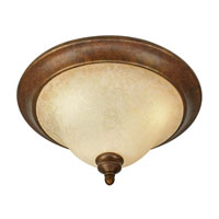 Rockefeller 3 Light 17 inch Champagne Bronze Flush Mount Ceiling Light in Tea Stone Glass