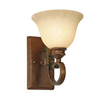 Golden Lighting Rockefeller 1 Light Wall Sconce in Champagne Bronze with Tea Stone Glass 3711-1W-CB