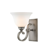 Rockefeller 1 Light 8 inch Peruvian Silver Wall Sconce Wall Light in Opal Glass
