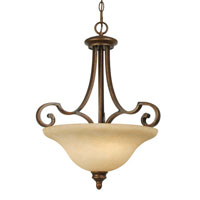 Golden Lighting Rockefeller 3 Light Bowl Pendant in Champagne Bronze with Tea Stone Glass 3711-3P-CB
