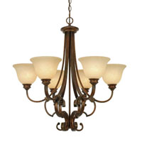 Golden Lighting Rockefeller 6 Light Chandelier in Champagne Bronze with Tea Stone Glass 3711-6-CB