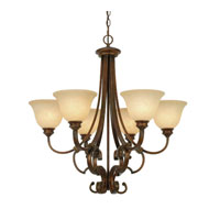 Rockefeller 6 Light 29 inch Champagne Bronze Chandelier Ceiling Light in Tea Stone Glass