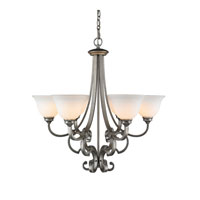 Rockefeller 6 Light 29 inch Peruvian Silver Chandelier Ceiling Light in Opal Glass